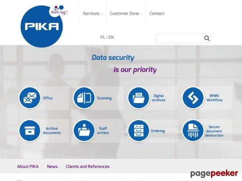 Firma PIKA jest twórcą spójnych i innowacyjnych rozwiązań związanych z optymalizacją zarządzania informacją biznesową. Od ponad 20 lat PIKA poszerza swoją ofertę o najnowsze rozwiązania technologiczne. Doskonale łączy w sobie tradycyjne techniki z nowoczesnymi, dzięki czemu klienci otrzymują usługi, które są do nich dobrze dopasowane. Wśród usług firmy znajdują się: archiwum cyfrowe, zarządzanie fakturami, automatyzacja procesów biznesowych i bezpieczne niszczenie dokumentów. ./_thumb/www.pika.pl.png