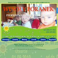"""Żłobek """"Wesoły poranek"""" jest prywatną placówką opieki dla dzieci do lat 3, mieszczącą się w Chorzowie przy ul. Powstańców 68, w byłej szkole podstawowej. Zaspokajanie podstawowych potrzeb bezpieczeństwa, akceptacji, sukcesu, integracji, samorealizacji, udział w zabawie. Serdecznie zapraszamy ./_thumb/www.wesolyporanek.pl.png"""