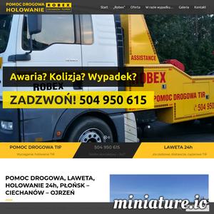 Pomoc drogowa P.H.U ROBEX zajmuje się całodobową pomocą drogową świadczoną posiadaczom samochodów osobowych, dostawczych, terenowych, motocyklom oraz busom. Firma oferuje także usługę transportu niskopodowziowego oraz samochody zastępcze z polisy oc sprawcy kolizji. Oferujemy transport lawetą na terenie całego kraju przez 24 godziny, 7 dni w tygodniu. Głównie działamy na terenie Płońska, Ciechanowa oraz Ojrzenia w województwie mazowieckim. Cena holowania jest obliczana indywidualnie, w zależności od masy i gabarytów pojazdu lub towaru.