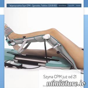 Wypożycz lub zarezerwuj SZYNĘ CPM na wczesny okres pooperacyjny i zacznij rehabilitację w domu. Szybki dowóz, opieka fizjoterapeuty.Telefon: 531 011 813.