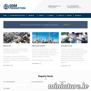 GOMproduction is a Czech and dynamically developing company focused on international business and consulting services. We specialize in custom-OEM manufacturing and purchasing of raw materials in Asia. ./_thumb1/www.gomproduction.com.png