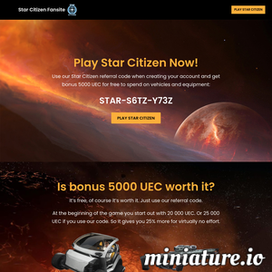 Use our Star Citizen referral code to get bonus 5000 UEC that you can spend on vehicles and weapons. Register today and start playing Star Citizen!  STAR-S6TZ-Y73Z